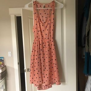 Lovely Pink Polka Dot Dress with Backless Feature